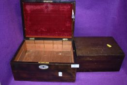 Two antique boxes or writers compendium one having mother of pearl inlay