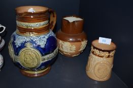 A selection of antique jugs including Queen Victoria Royal Doulton and similar Doulton