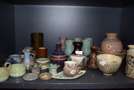 A good selection of modern and later studio pottery including Calver Marmoutier Orkney Ayesgarth