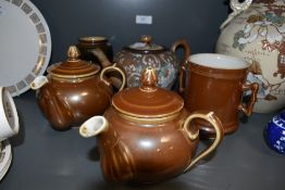 A selection of ceramics including brown lustre and Royal Doulton vase
