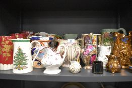 A selection of various water and milk jugs including Ironstone and Woods Indian Tree also