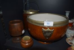 A selection of treen items including oak and plated fruit bowl and biscuit barrel both having
