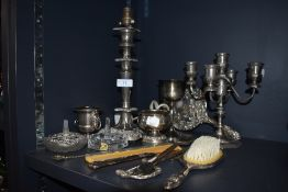 A mixed lot of Plated ware and similar including lamp stand, candlestick holder, dressing table