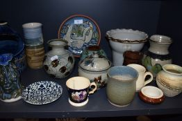 A good selection of modern and later studio pottery including Killarney Rossmore and Ullrich