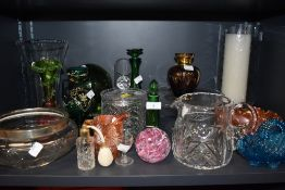 A selection of various glass wares including art and antique. Hand decorated Bohemian carnival and