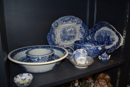 A nice selection of blue and white wear ceramics including Wedgwood hard paste tea cups and