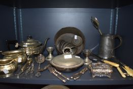 A selection of plated and similar kitchen and table wares including tea set and cutlery