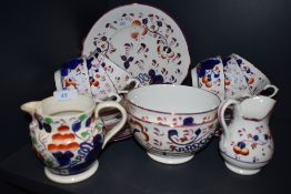 A part tea service hand decorated in Sunderland Lustre design compirising of slop bowls teacups
