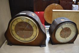 Two early to mid 20th Century oak cased mantel clocks