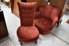 Two deep red dralon chairs, including nice Art Deco style low seat armchair and button back