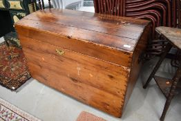 A vintage stained frame dome top trunk, approx. Dimensions W100cm H69cm D57cm