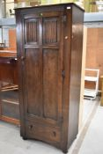 A traditional Priory style single wardrobe or hall robe, width approx. 73cm