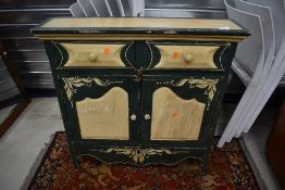 A Shabby chic style painted hall cabinet of shallow form, approx. dimensions H80cm W80cm D20cm
