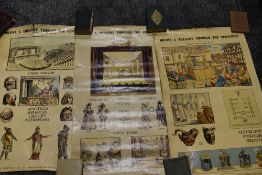 A collection of vintage posters with re enforced backs and eyelets at corners,possibly school or