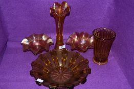 A selection of vintage pressed glass including carnival glass.