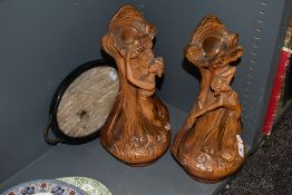 A pair of Nouveau style vintage chalk ware vases having 84 and 85 stamped to backs, also included is