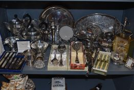 A mixed collection of flat ware and table ware including teapots,jugs, condiment dish, boxed