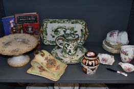 A mixed lot of vintage ceramics including Masons Chartreuse and royal crown derby also included