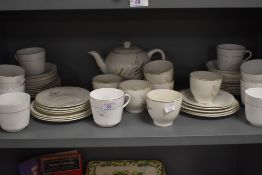 A large selection of tea wares including partial service by Barratts delphatic White Table ware