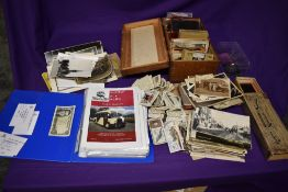 A collection of Photographs, Postcards, Lantern Slides, Glass Negatives and Cigarette Cards etc