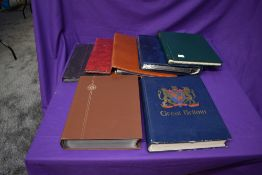 A Royal Mail Postcard Album and a Cover Album along a Senator Stamp Album, two Stock Books and two