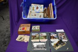 A collection of Cigarette Cards, Post Cards, Stamps & Covers, in albums and loose and a poster for