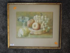 A watercolour, still life, attributed verso, dated 1890, 23 x 33cm, framed and glazed