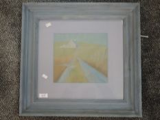 An acrylic painting, Nancy Hanson, Twilight Barra, attributed verso, 20 x 22cm, framed and glazed