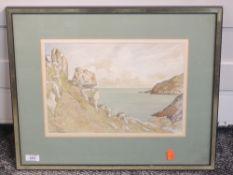 A watercolour, JSC, coastal landscape, indistinctly signed, 24 x 34cm, framed and glazed