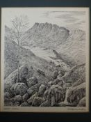 A pen and ink sketch, Alfred Wainwright, Great Carrs, signed, 20 x 16cm