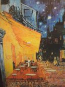 A print, after Van Gogh, Cafe Terrace, Place Du Forum, 79 x 59cm, framed and glazed