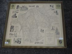 A print map, after Alfred Wainwright, The County of Westmorland, 1974, 3rd Ed, 53 x 60cm, framed and