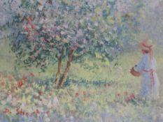 An oil painting, D Short, flower picking, signed, 10 x 14cm, framed and glazed