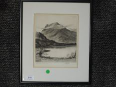 An etching, John Fullwood, Honister Crag Buttermere, signed, 22 x 19cm, framed and glazed