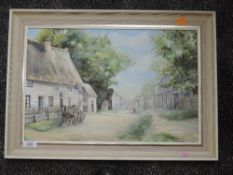 An oil painting on board, Joyce Grimaldi, London Road Old Royston, signed, 29 x 44cm, framed