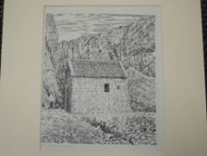 A pen and ink sketch, Alfred Wainwright, St Govans Chapel, 20 x 16cm, not signed, with card 'This is
