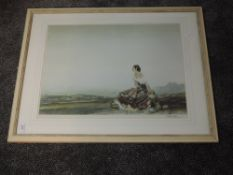 A print after William Russell Flint, Carmelita, signed, 43 x 56cm, framed and glazed