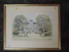 A watercolour, McDonald, school and grounds, signed, 30 x 47cm, framed and glazed
