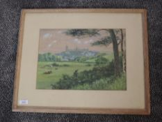 A watercolour, E S Bayley, Lancaster from surrounding countryside, signed and dated 1890, 26 x 36cm,