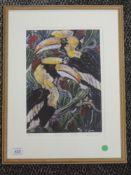 A Ltd Ed print, after Jo Whiteland, Hornbills, num 18/200, indistinctly signed, 29 x 20cm, framed