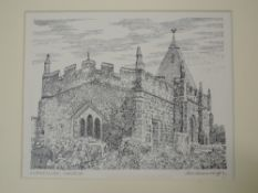 A pen and ink sketch, Alfred Wainwright, Llaneilian Church, signed, 17 x 21cm. Given to the vendor