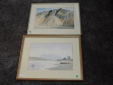 A watercolour, Roger Evans, Wastwater Screes, signed and attributed verso, 26 x 36cm, framed and