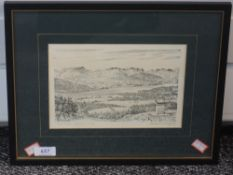 A print after Alfred Wainwright, View from Orrest Head, signed, 14 x 21cm, framed and glazed