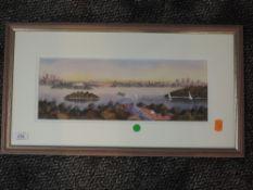 A watercolour, Chris Allfresh, Sydney Australia, indistinctly signed, 13 x 36cm, framed and glazed