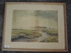 A watercolour, Rampling, Morecambe Bay estuary, signed, 29 x 40cm, framed and glazed