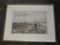 A print, estuary landscape, 31 x 45cm, framed and glazed