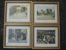 A set of four re prints, after Cecil Aldin, Dickensian studies, 14 x 20cm, framed and glazed