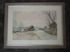 A watercolour, B Eyre Walker, Logs by the Wayside, signed and dated 1969, 37 x 55cm, framed and