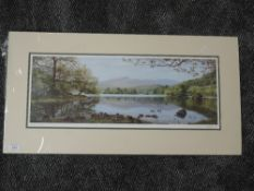 A print, after K Melling, Rydal Water, signed, 22 x 58cm