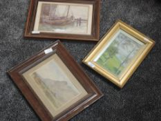 A watercolour, DFH, sailing boat, initialled, and dated'12, 17 x 24, framed, an oil painting,